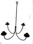 small 4 arm wrought iron hanging candolier